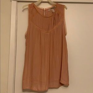 rustic tank top with lace lining on arms and neck
